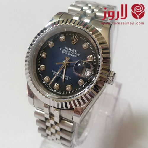 4cd892701 Rolex Watch .. Silver with Dark Blue Background from Larose - احدث ...