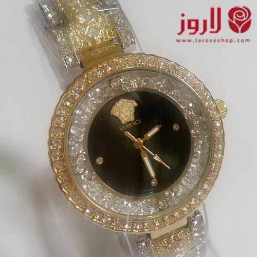 bdd0871a8 ساعة فرزاتشي Versace نسائي .. ذهبية مع خلفية اسود من لاروز - احدث ...